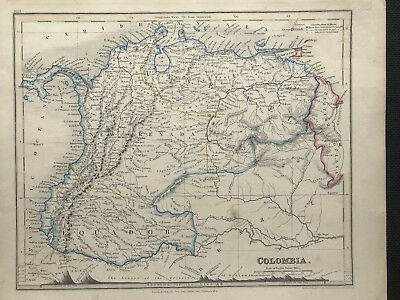 Antique Map COLOMBIA c1840 by W. Orr engraved John Dower original outline color