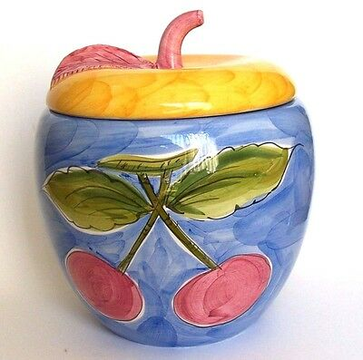 Pier 1 Cookie Jar French Country Cherry Ceramic Red Blue Yellow HP Portugal