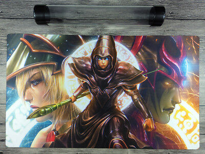 Dark Magician YuGiOh Artwork Custom Playmat TCG CCG Mat Free High Quality Tube