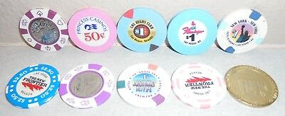 Lot Of 10 Casino Las Vegas Poker Chips Coin Collection