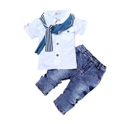 New toddler kids boys summer outfits clothes tops & pants sets fashion