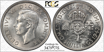 1943 Great Britain UK Florin 2 Shillings Coin - PCGS MS62 SILVER - POP 2