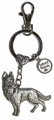 Dog Lovers Forever Friends Zinc Key Chain w/ Clip -German Shepherd