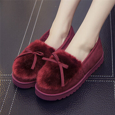 AU Winter Adult Women Warm Indoor Home Floor Shoes Plush Cotton Slippers Thick