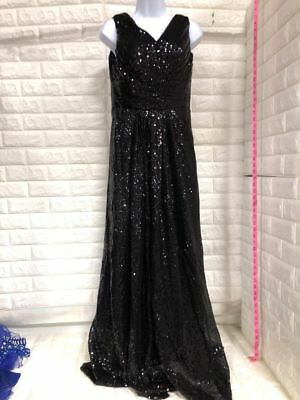 Women's V-Neck Sequin Long Evening Dress A-Line Prom Gown Black