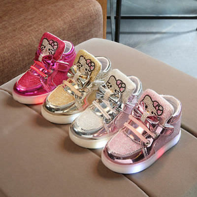 AU Light Up Shoes LED Flashing Trainers Casual Sneakers For Kids Boys Girls Baby