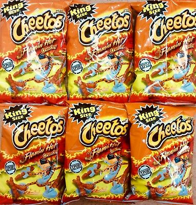6 Bags Of 3.5oz Flamin Hot Crunchy Cheetos Genuine American Import DATED NOVEMBE