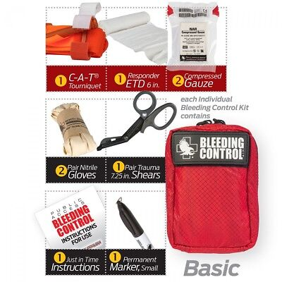 Stop the Bleed kit Public Access Basic Kit w Red Nylon Bag - Gen 7