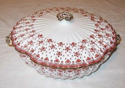Spode China Fleur de Lys Red Round Covered Serving Bowl England Y7481A Gold Trim