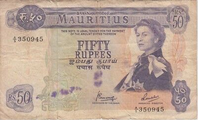Mauritius Banknote P33c-0945 50 Rupees Sig 4, stains, tear at top, F