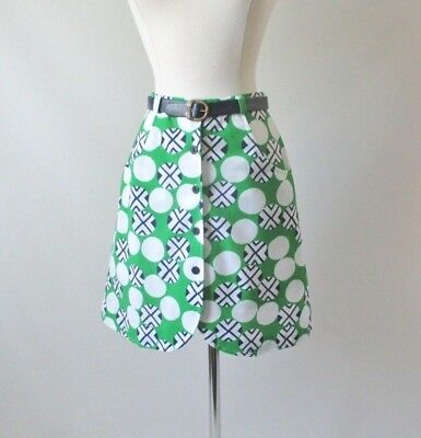 60's MOD Geo Green Blue Mini Skirt Shorts Skorts & Matching Belt Set