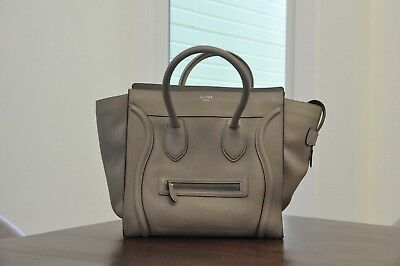 3100 Authentic Celine Mini Luggage Tote Dune Drummed Pebbled Leather eaef7bbd5d00c
