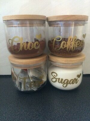 Canister Labels Decals Tea Coffee Sugar Choc Decal Only