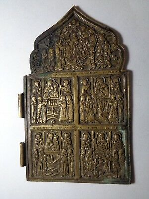 Russian orthodox old bronze part of diptych triptich Icon original 1800s 7