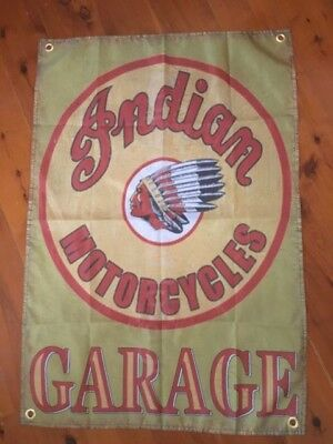 biker garage art Indian motor cycle garage GAMES ROOM BAR  USA man cave flag