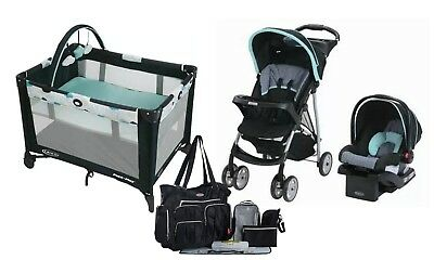 Graco Baby Stroller Travel System Car Seat Playard Crib Diaper Bag Combo Set New