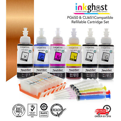 Refillable ink cartridge for Canon MG7560 7160 6360 IP8760 PGI-650 CLI-651 XL