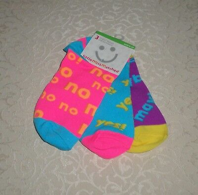 LITTLE MISS MATCHED ~YES~ NO~ Maybe Ankle Socks, Ages 10-110 NWT