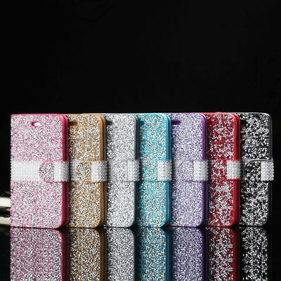 Bling Glitter Diamond Case Cover Wallet Flip Stand Shockproof For iPhone Samsung