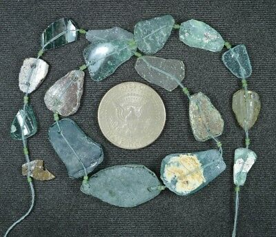 Ancient Roman Glass Beads 1 Medium Strand Aqua And Green 100 -200 Bc 864