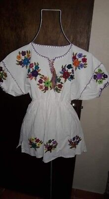 Authentic Hand made embroidered ladies Mexican blouse