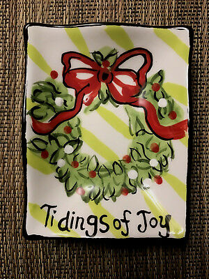 Hand Painted Dish Topiary Tidings Of Joy Bible Verse Goodness Gracious New
