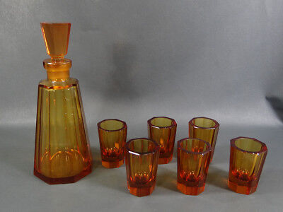 Art Deco Bohemian Czech Amber Octagonal Cut Crystal Liquor Decanter 6 Cups Set