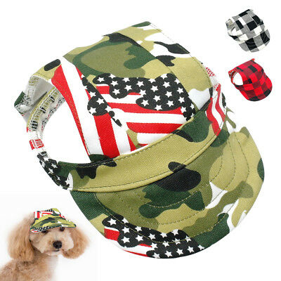 Breathable Dog Hat Baseball Sun Cap with Ear Holes Puppy Kitten Hats Blue S M L