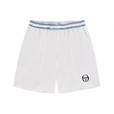 Men's Tennis Short -Sergio Tacchini Tennis Master Short, White/Blue - Size Large