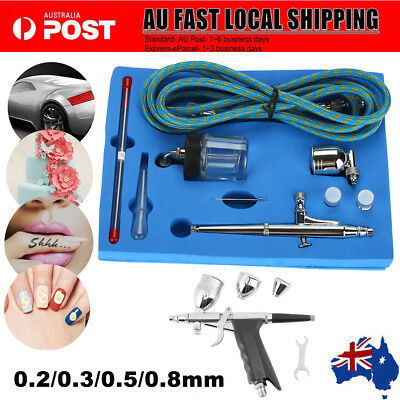 Airbrush Spray Gun Dual Action Air Brush Craft Tattoo Hose Kit 0.2/0.3/0.5/0.8mm