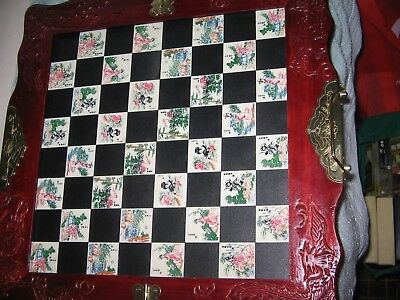 Folding Chinese-Themed Chess Board with All Chess Pieces