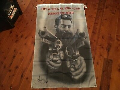Banner print NED BUSHRANGER NED KELLY flag poolroom man cave outlaw Aussie biker