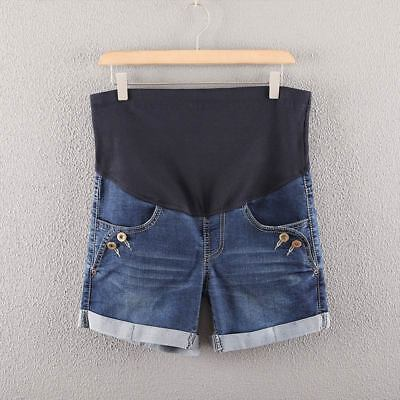 Summer Denim Maternity Shorts for Pregnant Women Pockets Jeans Care Belly Pants