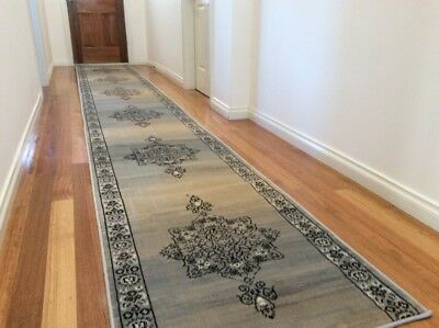 Dalia Beige Medallion Hallway Runner Traditional Hall Runner Rug 4 Metres Long