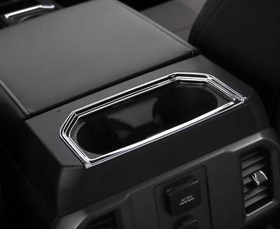 Armrest Storage Box Water Cup Holder Panel Trim ABS For Ford F-150 2016-2018