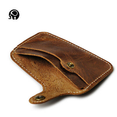 Brown Genuine Leather Slim Mini ID/Credit Card Wallets Coin Purse Womens Mens