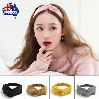 Korean Women Spring Suede Headband Bohemian Vintage Cross Knot Elastic Hairband