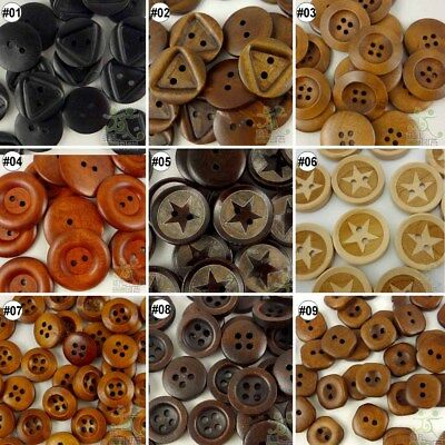 10pcs mixed wood round square star buttons lots craft/sewing U pick