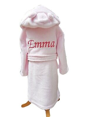Personalised girls embroidered dressing gown bath robe 0-6 6-12 12-18 18-24 mths