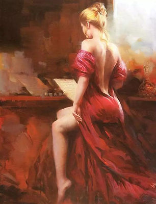 LMOP31 100% hand-painted modern NOBILITY music WOMEN oil painting on canvas