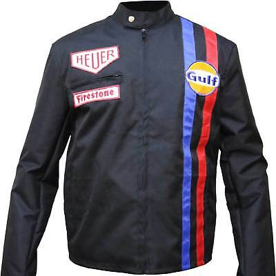 Steve McQueen Le Mans Driver Car Racing Gulf Colorful Straps Leather Jacket