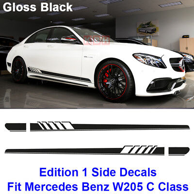 Edition 1 Side Stripe Decal Sticker - Mercedes Benz W205 C Class AMG Gloss Black