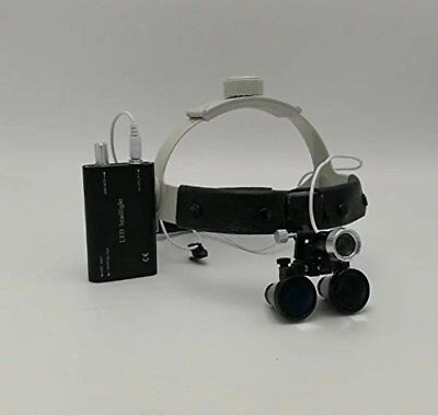 Dental 3W Surgical Binocular 3.5X420mm Leather Headband Loupe LED Headlight