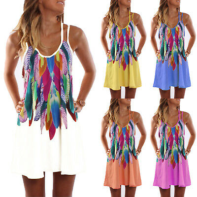 Plus Size Women Summer Strappy Beach Wear Sundress Bikini Cover up Mini Dress AU