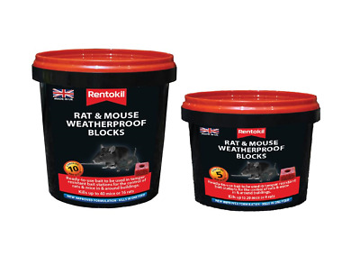 Rentokil RKLPSMR41-2 Rat & Mouse Killer Weatherproof Blocks - Tube of 5 & 10