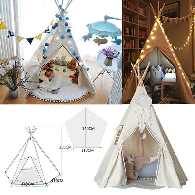 Large Kids Teepee Cotton Canvas Tent Childrens Wigwam Playhouse Indoor Outdoor