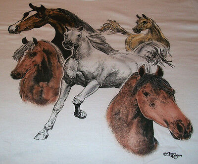 "Horses Galore T-shirt  "" White "" XL ( 46 ~ 48 )"