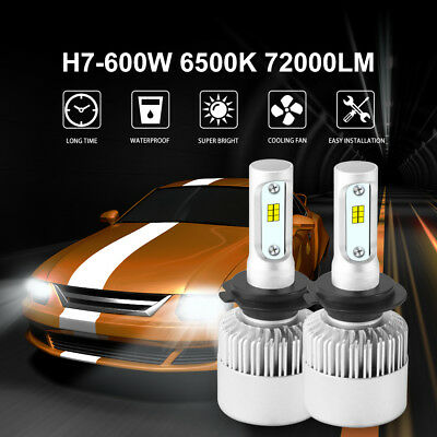 LED H7 600W 72000LM Phare voiture Ampoule Headlight CREE Beam 6500K Blanc LD1084