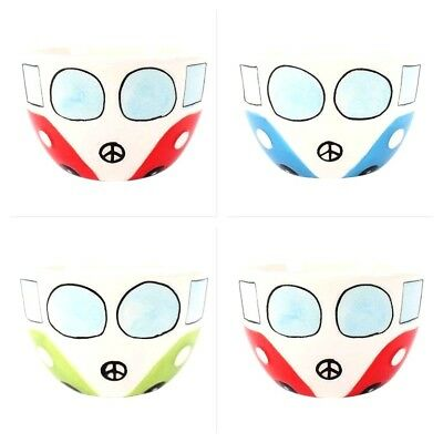 VW Style Campervan Ceramic Cereal Soup Bowl Dish Red Bluer Green Student Gift
