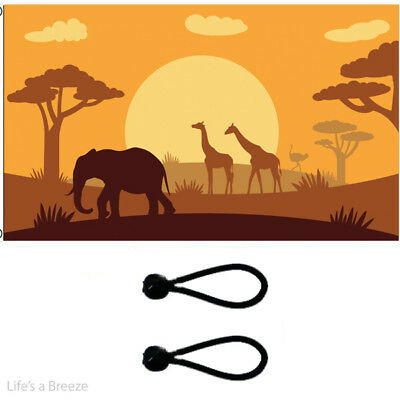African Animals Silhouette Flag Comes With Free Ball Ties.